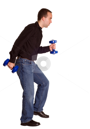 Walking With Weights stock photo, A man wearing casual clothing taking a brisk walk with a set of dumbells by Richard Nelson