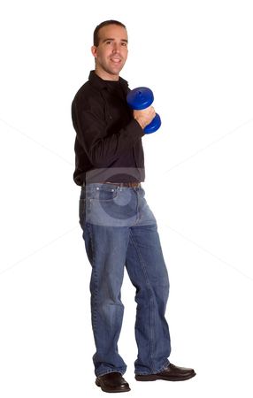Man Lifting Weights stock photo, A man dressed in casual clothing lifting dumbells by Richard Nelson