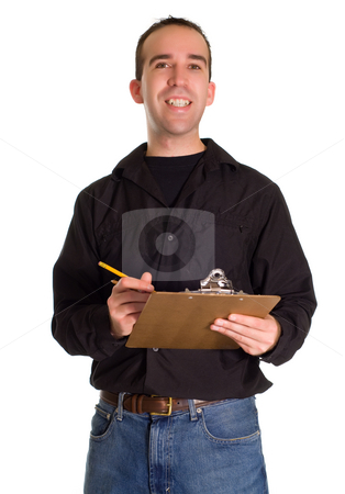Man With List stock photo, A happy man making a list, isolated against a white background by Richard Nelson