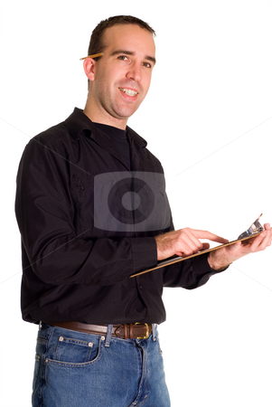 Supervisor stock photo, A young supervisor with a clipboard, isolated against a white background by Richard Nelson