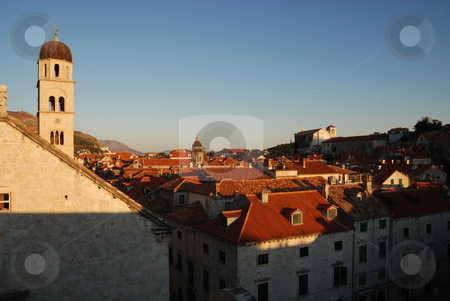 Sunset over the roof tops of Dubrovnik, Croatia stock photo, Beautiful scene of sunset over the roof tops of Dubrovnik, Croatia by Jodi Baglien Sparkes