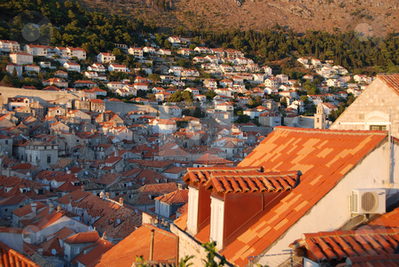 Roof top view from the wall stock photo, Roof top view from the wall in Dubrovnik, Croatia by Jodi Baglien Sparkes