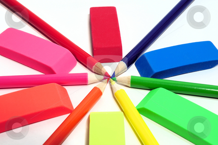 Colored Pencil And Eraser Abstract stock photo, Colored pencils and erasers in various color shades by Lynn Bendickson