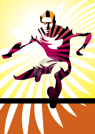 Athlete jumping hurdle stock vector clipart, Vector illustration of a young man jumping a hurdle. by Anna Violet
