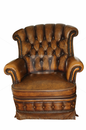 Old armchair stock photo, Old leather armchair isolated on white background by Marek Kosmal