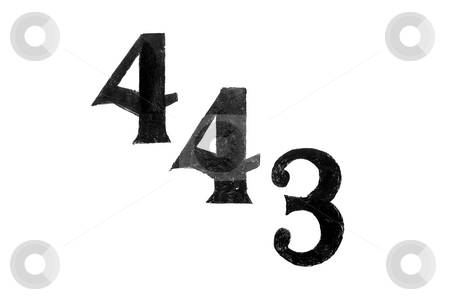 Four four three stock photo, The number 443 in black on white background by Henrik Lehnerer