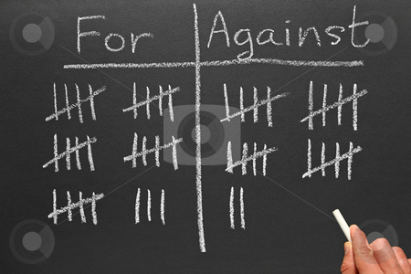 Writing scores voted for and against on a blackboard. stock photo, Writing scores voted for and against on a blackboard. by Stephen Rees