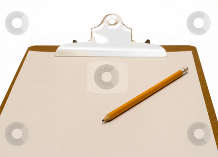 Isolated Clipboard stock photo, A clipboard with a blank sheet of paper and a pencil, isolated against a white background by Richard Nelson