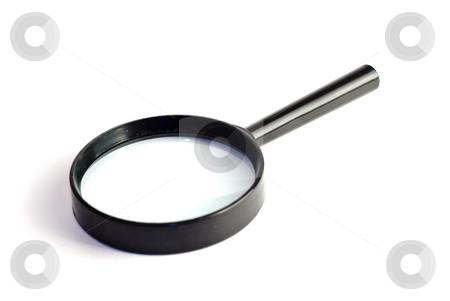 Magnifying Glass stock photo, A small magnifying glass, isolated against a white background by Richard Nelson