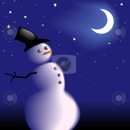 Snowman under frosty cold clear winter night sky stock vector clipart, A new snowman with a frosty carrot nose under the moon and stars on a clear cold wintry night. Copyspace for your white text. by Michael Brown