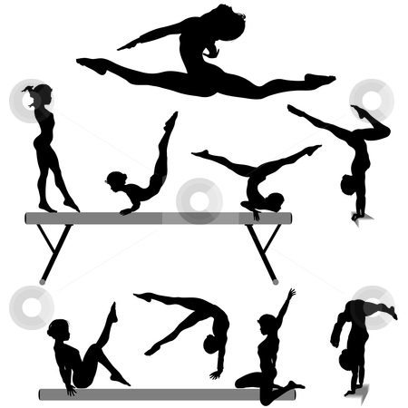 Female gymnast silhouette balance beam gymnastics exercises stock vector clipart, Silhouettes set of a female gymnast or gymnasts doing balance beam gymnastics exercises. by Michael Brown