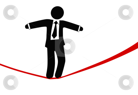 Symbol business man walks on danger risk tightrope stock vector clipart, A business man balances with a briefcase, walks a high wire tightrope, above risk and danger. by Michael Brown
