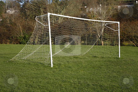 A British park football pitch goal posts and net. stock photo, A British park football pitch goal posts and net. by Stephen Rees