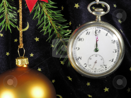 Happy New year stock photo, Glass ball and pocket clock on christmas tree by Marek Kosmal