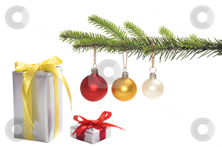 Christmas tree stock photo, Christmas tree with presents isolated by Marek Kosmal