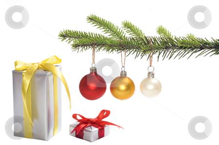 Christmas tree stock photo, Christmas tree with presents isolated by Marek Kosmal
