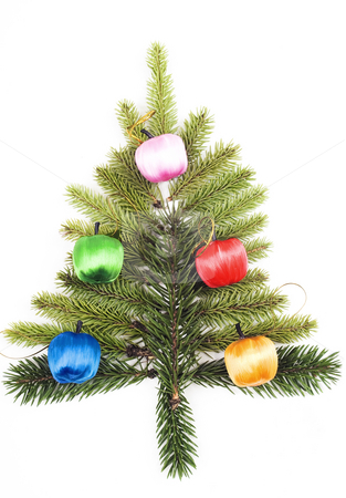 Christmas decoration stock photo, Christmas tree isolated on white by Marek Kosmal