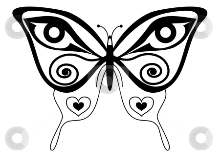 Butterfly vector tattoo stock vector clipart, Vector illustration of a stylised butterfly by Ivan Paunovic