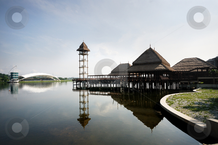 Floating Restaurant  with Tower stock photo, Floating Restaurant  with Tower by Jaggat Images