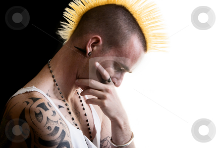 Man with Mohawk stock photo, Man; male; adult; shirtless; tattoo; Mohawk; pierced; piercing; punk; grunge; face; closeup; necklace; black; white; contrast; hair; portrait, thinker, portrait, pensive, thoughtful by Scott Griessel