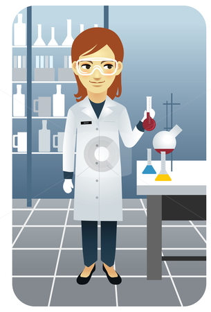 Female researcher working in the laboratory stock vector clipart, Vector illustration of a female researcher working in the laboratory, holding a beaker. by Anna Violet