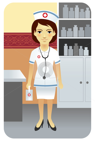 Female nurse in a hospital stock vector clipart, Vector illustration of a young doctor in clinic. by Anna Violet