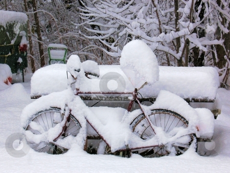 Snow Covered Bike stock photo, Two days after the first snow storm of the year. by Ray Carpenter