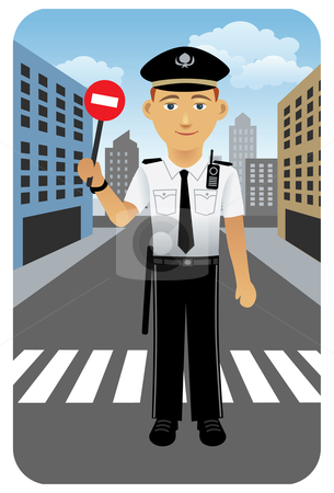 Police traffic officer stock vector clipart, Vector illustration of a police officer on duty. by Anna Violet