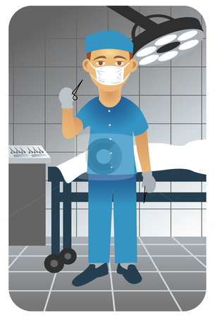 Surgeon in operative room stock vector clipart, Vector illustration of a doctor in an operative room holding a pair of scissors. by Anna Violet