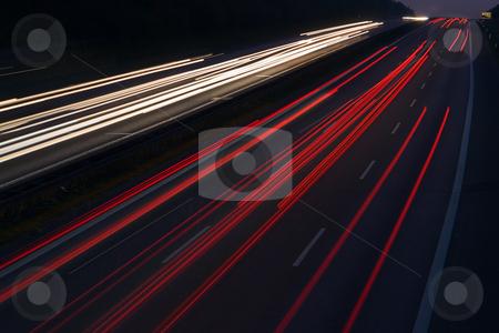 Autobahn nachts stock photo, Deutschland, Autobahn A8 H?he Kirchheim unter Teck, Langzeitbelichtung by Wolfgang Heidasch