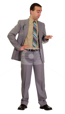 Formal Man Patiently Waiting stock photo, A man with a pocket watch is patiently waiting, isolated against a white background by Richard Nelson