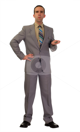 You Are Late stock photo, Full body view of a young boss holding a pocket watch and looking mad by Richard Nelson