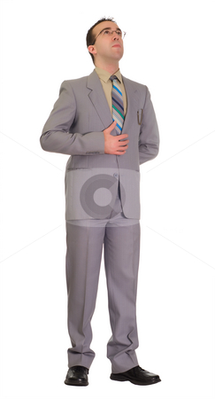 Full-length Portrait stock photo, Full body view of a young businessman standing, isolated against a white background by Richard Nelson