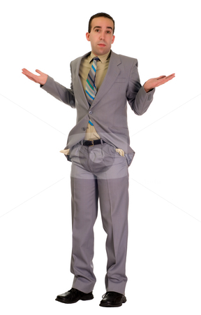 No Money stock photo, Full body view of a man wearing a suit with his hands up because he has no money, isolated against a white background by Richard Nelson