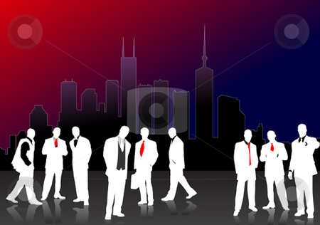 Nine Business people  silhouettes stock vector clipart, Nine Business people  silhouettes with town background by Leonid Dorfman