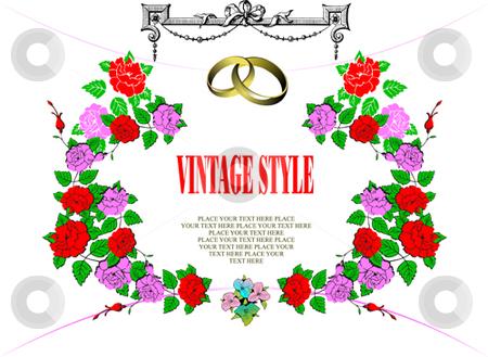 Wedding or Valentine`s day card stock vector clipart, Wedding or Valentine`s day card, Vintage style. by Leonid Dorfman