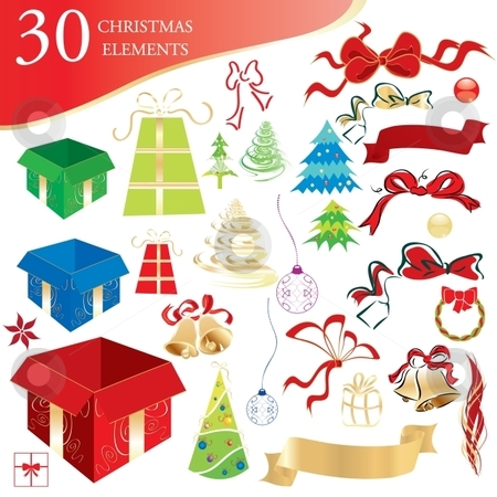 Christmas elements stock vector clipart, Set of 30 Christmas holidays design elements, vector illustration by Milsi Art
