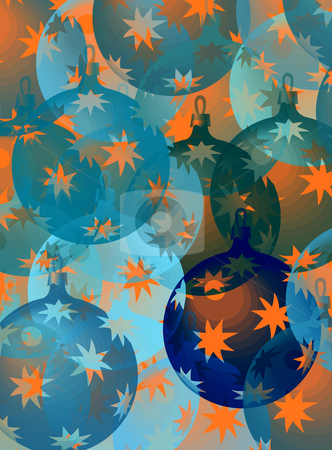 Pastel christmas balls stock photo, Pattern with christmas decorations in blue and orange by Wino Evertz