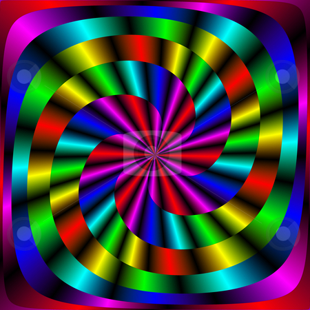 Colorful spiral stock photo, Intertwined shapes of many dark bright colors by Wino Evertz