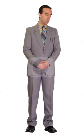 Business Depression stock photo, Young businessman looking depressed, because his company is failing by Richard Nelson