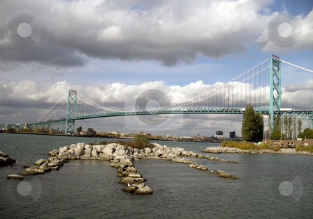 Ambassador Bridge stock photo, International Ambassador Bridge over the Detroit River between United States and Canada. The bridge spans Detroit Michigan and Windsor Ontario. Photograph taken on the Canadian side. by Mehahatollahh Livingstone