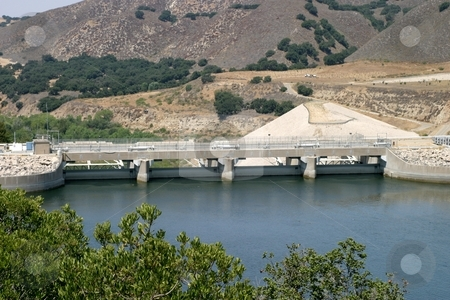 Bradbruy Dam stock photo, The Bradbury Dam at Lake Cachuma in Santa Barbara County. by Henrik Lehnerer