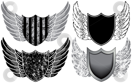 Shields with Wings stock vector clipart, Shields with Wings by Adrian Sawvel
