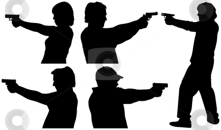 Gun Shooting Silhouettes stock vector clipart, Five Male and Female Gun Shooting Silhouettes by Adrian Sawvel