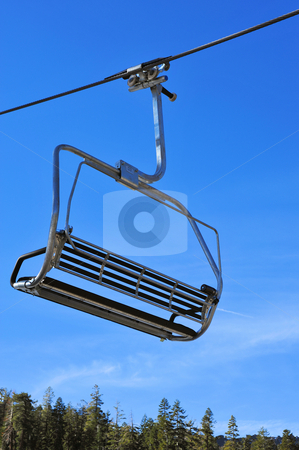 Ski Lift Chair stock photo, Closeup of a ski lift chair before the skiers arrive by Lynn Bendickson