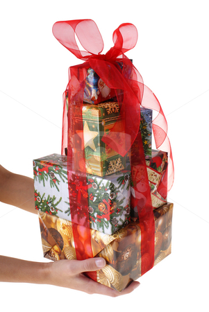 Gift stock photo, Big number of gifts keeping in hands isolated on white background by Jolanta Dabrowska