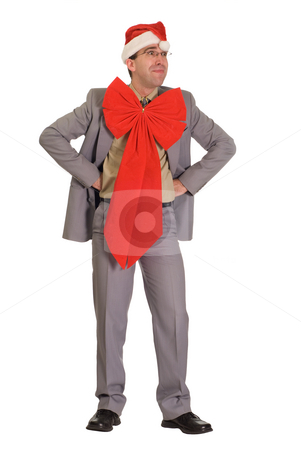 Human Christmas Gift stock photo, Full body view of a human Christmas gift, isolated against a white background by Richard Nelson