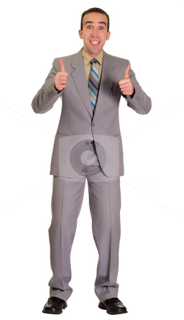 Excited Businessman stock photo, Full body view of an excited businessman giving two thumbs up, isolated against a white background by Richard Nelson