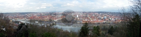 Wuerzburg stock photo, Panoramic cityscape of the Franconia city Wuerzburg in Bavaria Germany by Henrik Lehnerer
