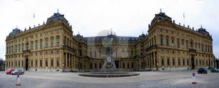 Wuerzburger Residenz stock photo, Panoramic capture of the Wuerzburger Residenz with fountain in foreground. by Henrik Lehnerer